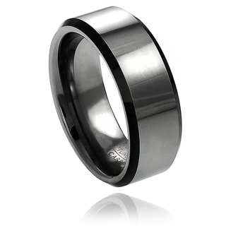 Vance Co. Men's Tungsten Polished Black Enamel Beveled Edge Band (8 mm)