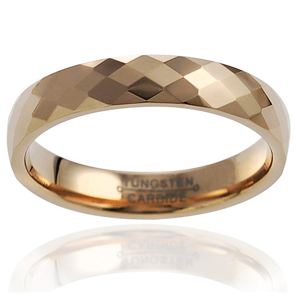Vance Co. Men's Tungsten Rose Goldplated Faceted Band (4 mm)
