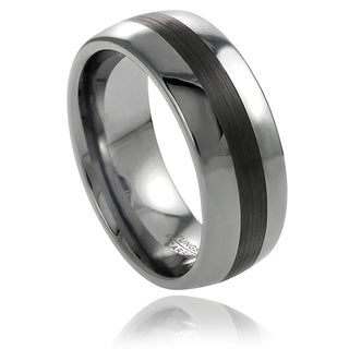 Vance Co. Men's Tungsten Polished Brushed Center Band (8 mm)