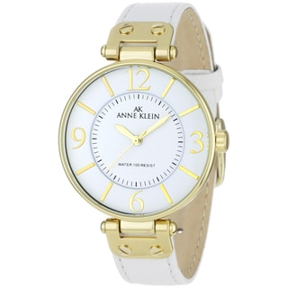 Anne Klein Women's Steel and White Leather Strap Watch