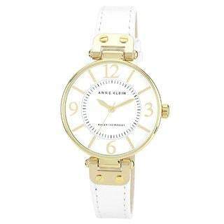 Anne Klein Women's Steel and White Leather Strap Watch