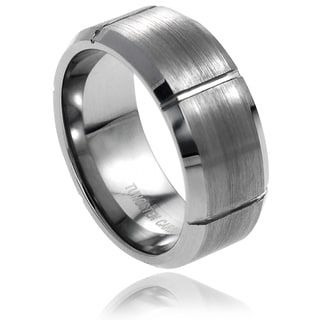 Vance Co. Men's Tungsten Brushed Vertical Grooved Band (9 mm)
