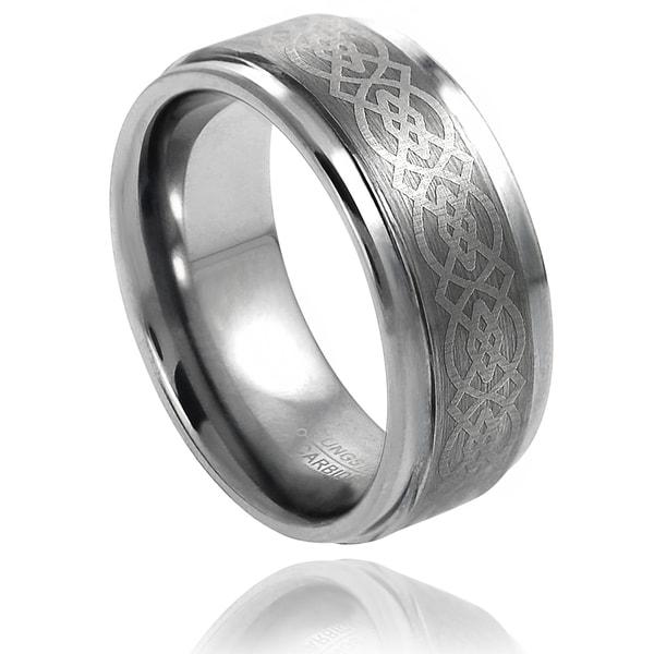 Vance Co. Men's Tungsten Brushed Engraved Celtic Pattern Band (9 mm)
