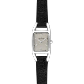 Anne Klein Women's Steel and Black Leather Strap Watch