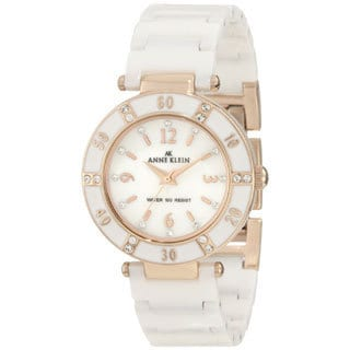 Anne Klein Women's Stainless Steel White Resin Strap Watch