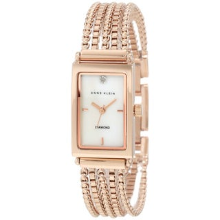 Anne Klein Women's Rose-Gold Stainless-Steel Quartz Watch with White Dial