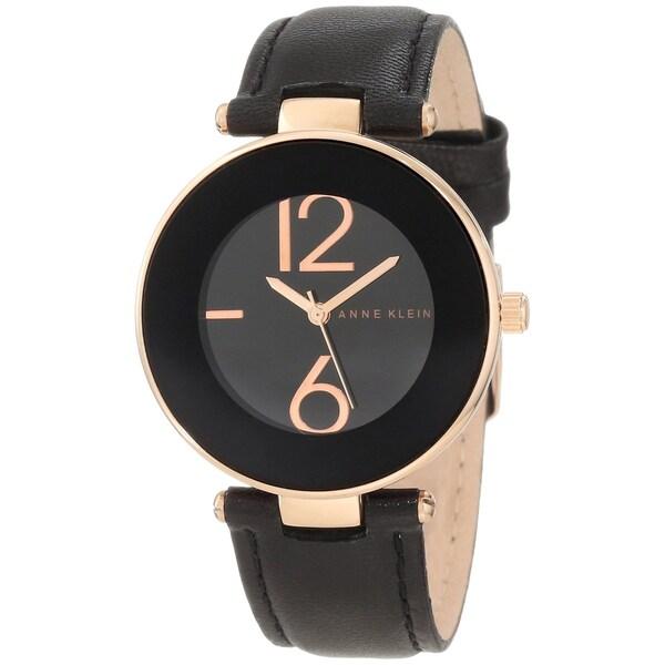 Anne Klein Women's Stainless Steel Black Leather Strap Watch