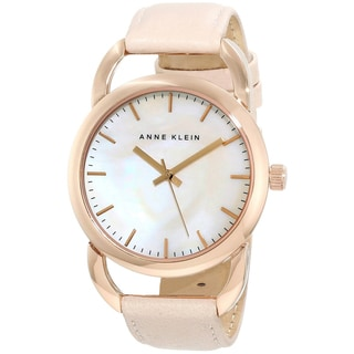 Anne Klein Women's Pink Leather Quartz Watch with Mother-Of-Pearl Dial