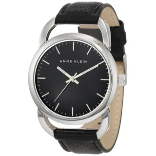 Anne Klein Women's Steel and Black Calf Skin Watch