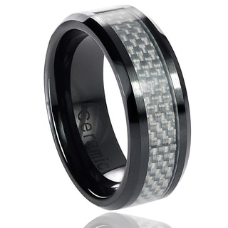 Vance Co. Ceramic White Carbon Inlay Band (8 mm)
