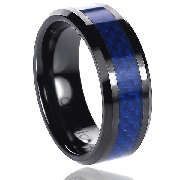 Vance Co. Ceramic Blue Carbon Inlay Band (8 mm)
