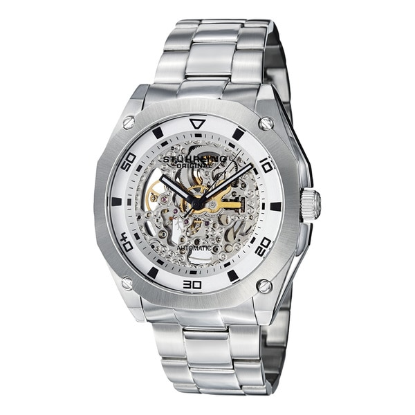 Stuhrling Original Men's Gallant Water-Resistant Automatic Skeleton Stainless-Steel Bracelet Watch