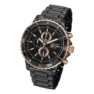 Stuhrling Original Men's Regatta Ceramic Chrono Bracelet Watch