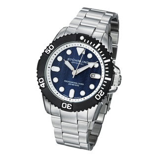 Stuhrling Original Men's Atlantis Elite Professional Diver Stainless Steel Bracelet Watch with Blue Dial