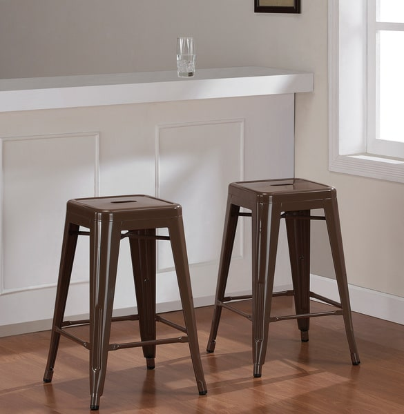 Tabouret Chocolate Chip 24-inch Metal Counter Stools (Set of 2)