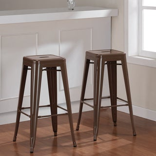Tabouret 30 Inch Chocolate Chip Metal Bar Stools Set Of 2 Overstock Shop