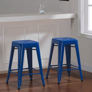 Tabouret 24-inch Baja Blue Metal Counter Stool (Set of 2)