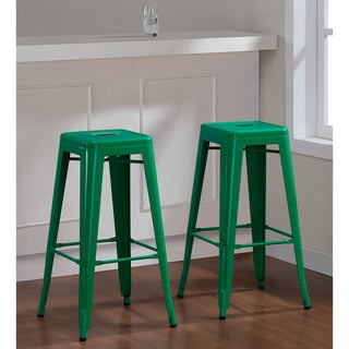 Tabouret 30-inch Emerald Metal Bar Stools (2)