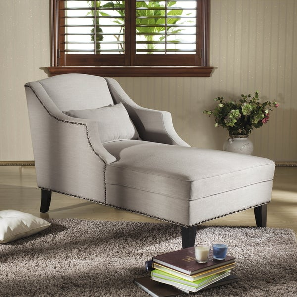 Baxton studio 39 asteria 39 putty gray linen modern chaise for Abbyson living soho cream fabric chaise