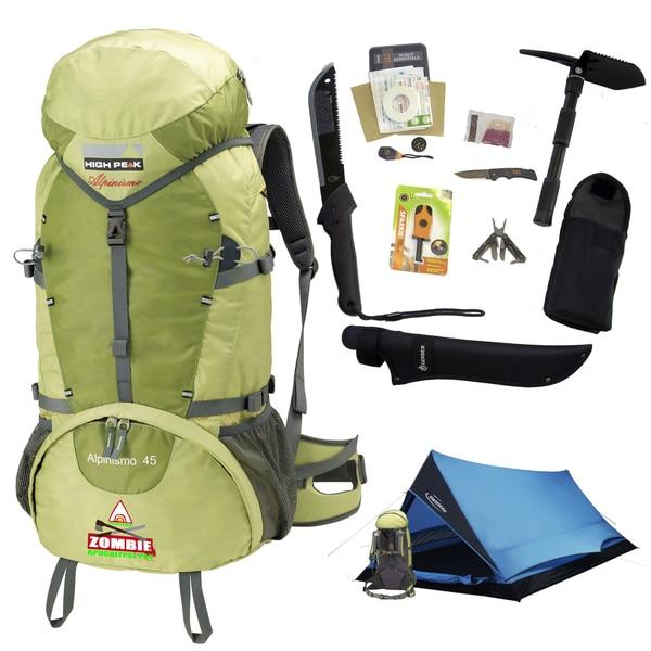 Alpinizmo by High Peak USA 45 Zombie Apocalypse Pack & Tent Set