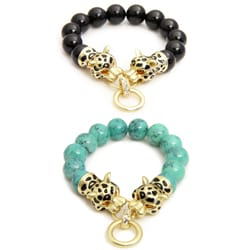 Saachi Brass Glass Bead Tiger Bracelet (China)