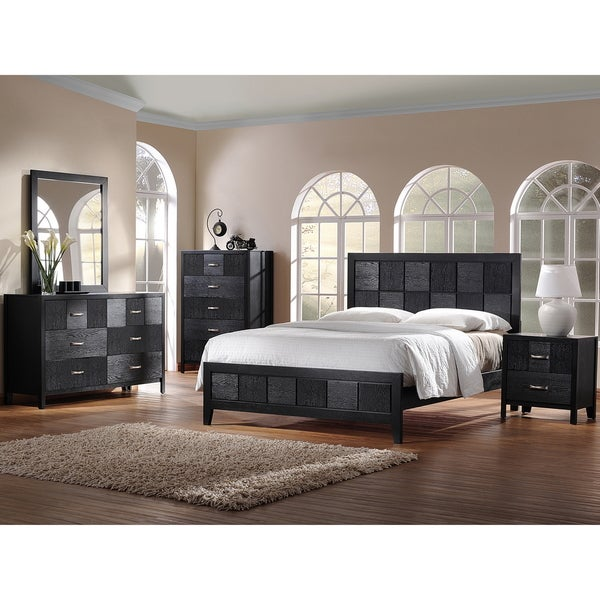 Baxton Studio Montserrat Black Wood 5 Piece King Size Modern Bedroom Set 14