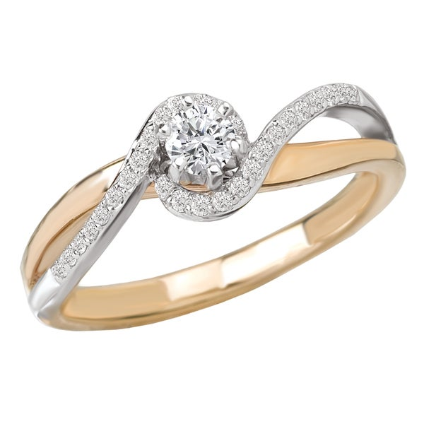Avanti 14k Two-tone Gold 1/4ct TDW Diamond Braided Ring (G-H, SI1-SI2)