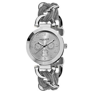 Akribos XXIV Women's Multifunction Stainless Steel Mesh-link Bracelet Watch