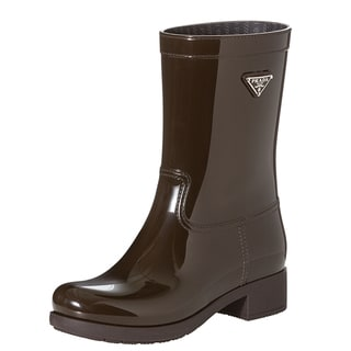 Prada Women's Brown Logo-emblem Short Rain Boots
