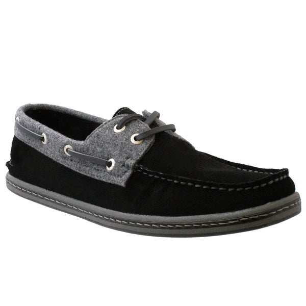 GBX Men's Black Suede Boat Shoes