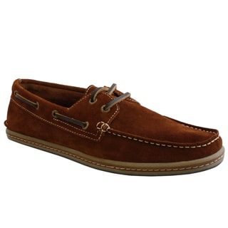 GBX Men's Red-Brown Suede Boat Shoes