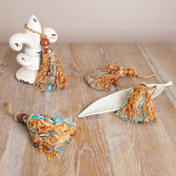 Rayon Tassels with Beaded Accents (Set of 4)