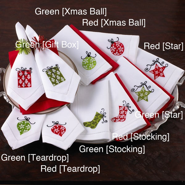 Holiday Hemstitched Napkins (Set of 4)