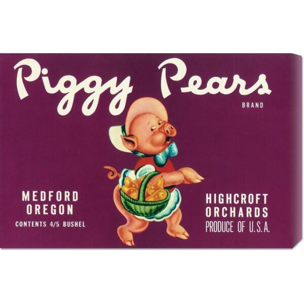 Retrolabel 'Piggy Pears Crate Label' Stretched Canvas Art