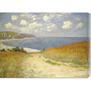 Claude Monet 'Path In The Wheat at Pourville' Stretched Canvas