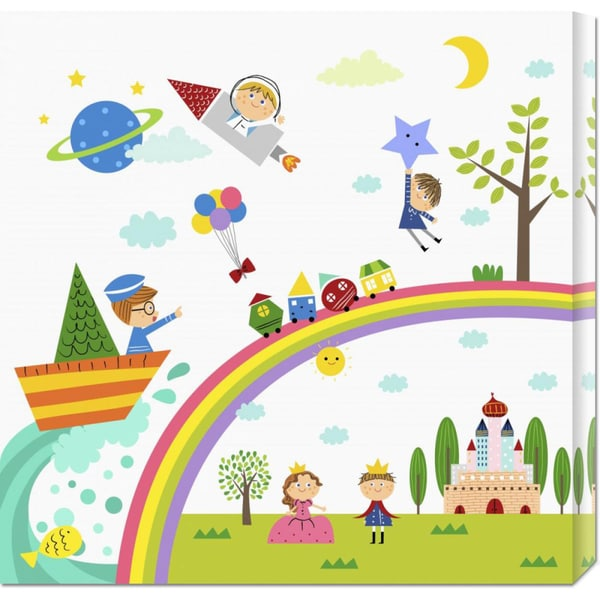 Big Canvas Co. Jiyeong Na 'Happy children enjoying their time II' Stretched Canvas