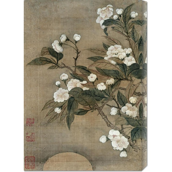Yun Shouping 'Pear Blossom and Moon' Stretched Canvas