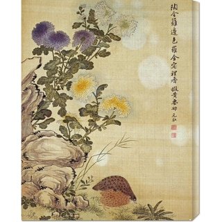 Big Canvas Co. Ma Yuanyu 'Chrysanthemums and Quail' Stretched Canvas