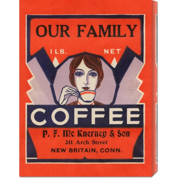 Big Canvas Co. Retrolabel 'Our Family Coffee' Stretched Canvas