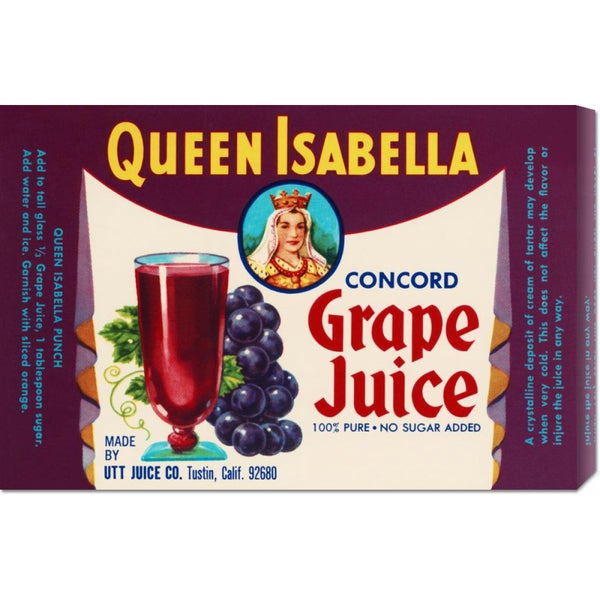 Retrolabel 'Queen Isabella Concord Grape Juice' Stretched Canvas