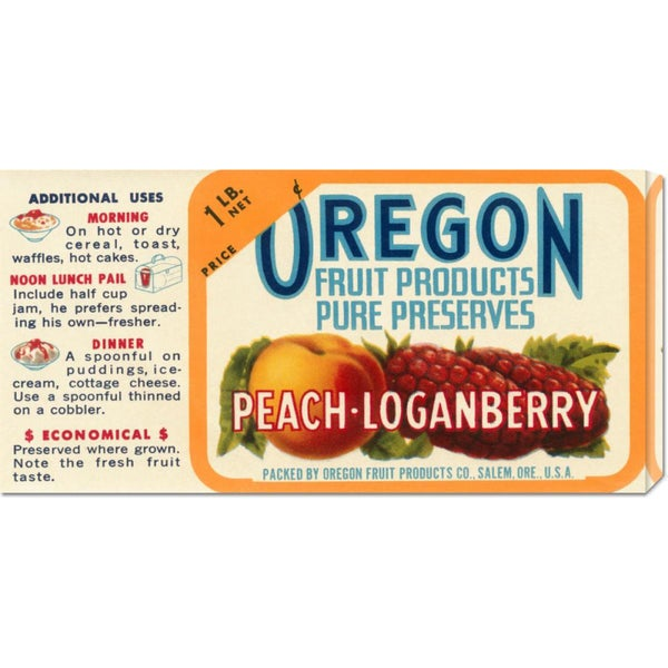 Retrolabel 'Peach - Loganberry Preserves' Stretched Canvas