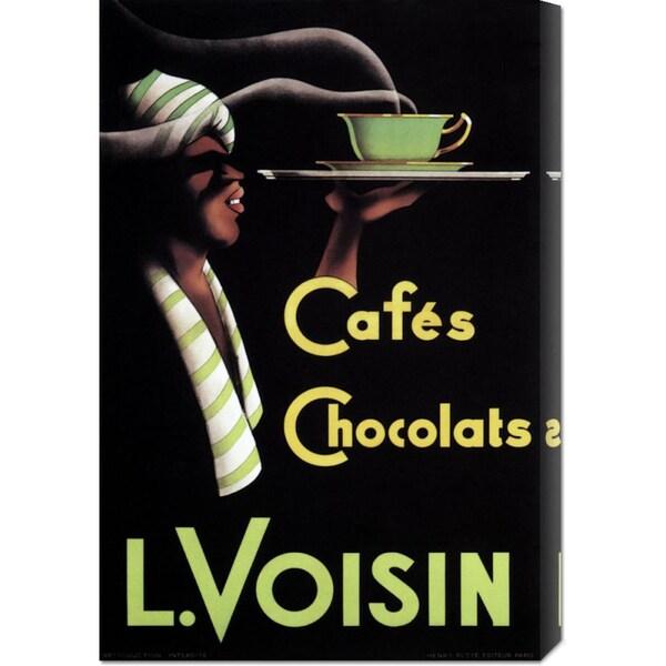Big Canvas Co. Retrolabel 'Cafes Chocolats L. Voisin' Stretched Canvas Wall Art