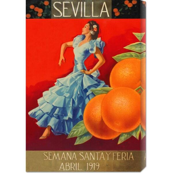 Retrolabel 'Sevilla - Fair Week' Stretched Canvas