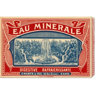 Retrolabel 'Eau Minerale' Stretched Canvas