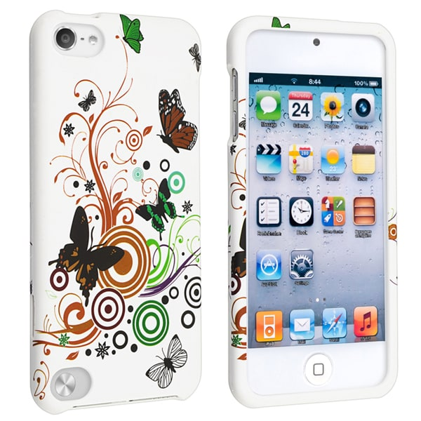 INSTEN White Autumn Flower Snap-on iPod Case Cover for Apple iPod 5th Generation