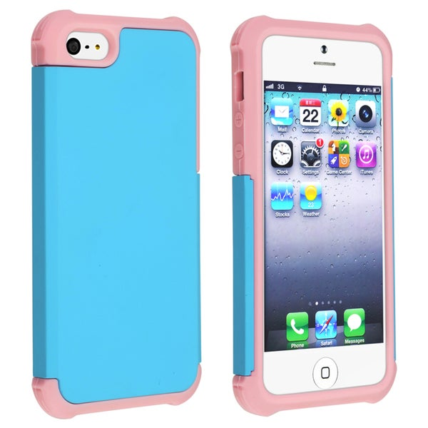 BasAcc Light Pink/ Sky Blue Hybrid Case for Apple iPhone 5
