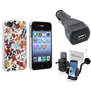 BasAcc Case/ Phone Holder/ Car Charger Adapter for Apple iPhone 4/ 4S