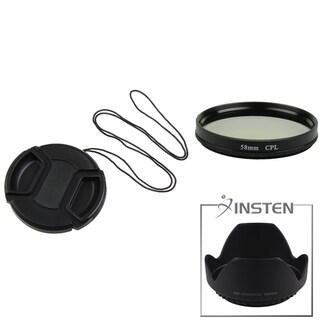 INSTEN Lens Hood/ Cap/ Polarizing Lens Filter for Sony DSC-F828/ H5