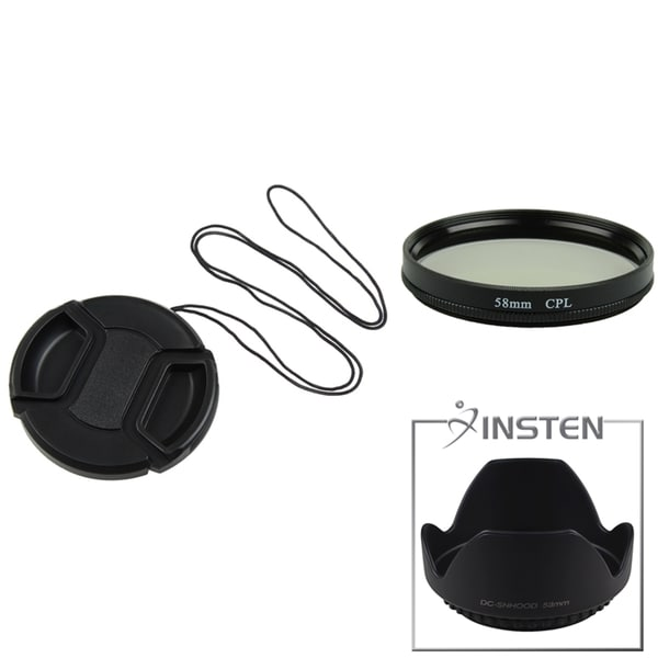 INSTEN Lens Hood/ Cap/ Polarizing Lens Filter for Sony DSC-F828/ H5