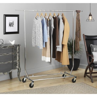 Whitmor Chrome Steel Commercial Rolling Garment Rack